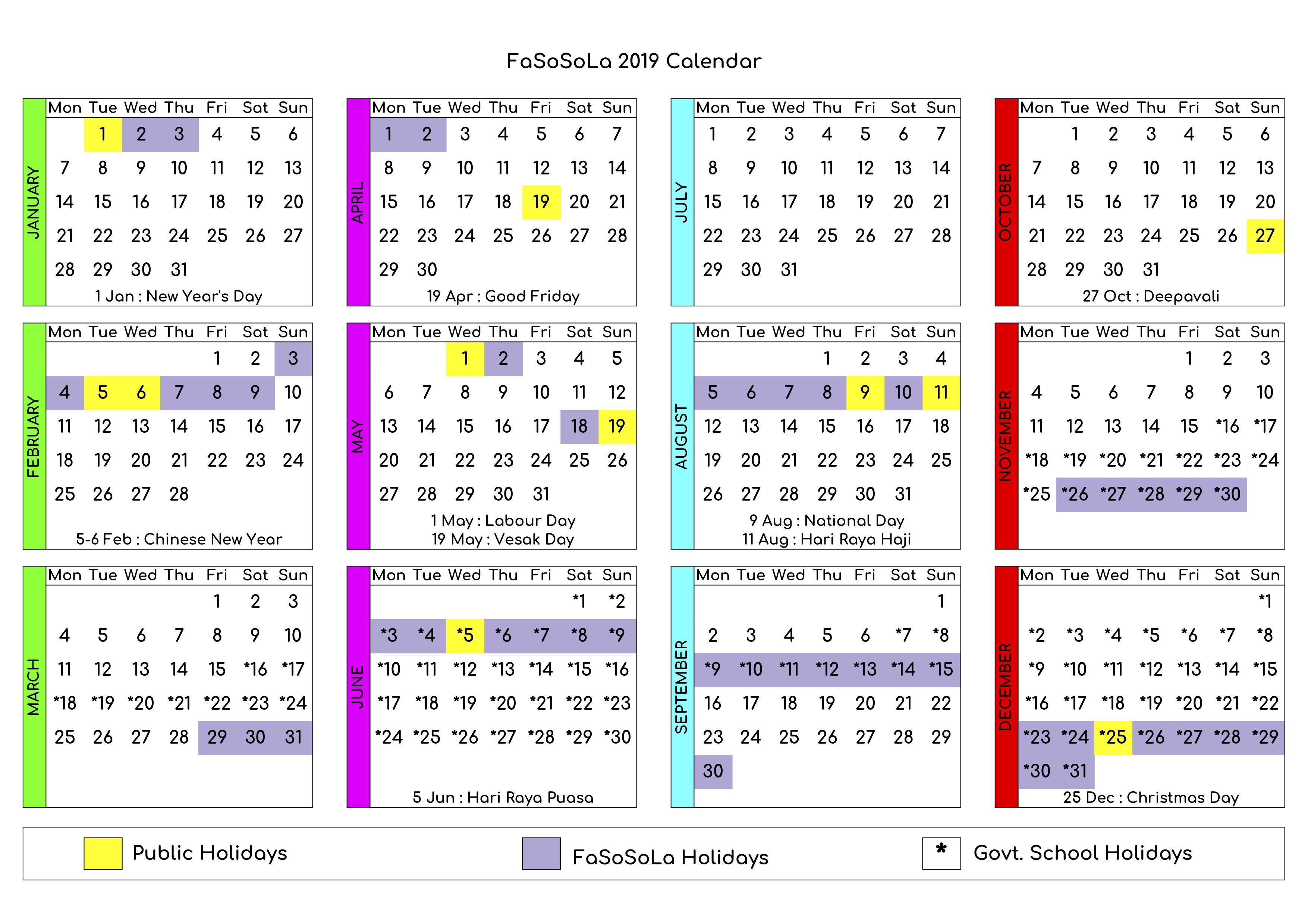 FaSoSoLa 2019 Calendar